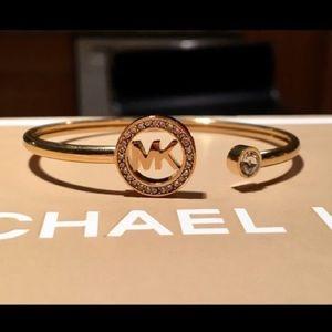 Michael Kors Gold-Tone Flex Fit Logo Cuff Bracelet